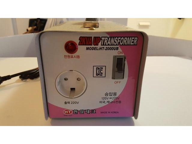 Korean 2KVUP Transformer  HT-2000UB 120V to 220V plug